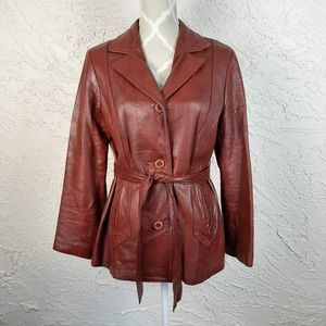 Apache Vintage Leather Front Tie Jacket